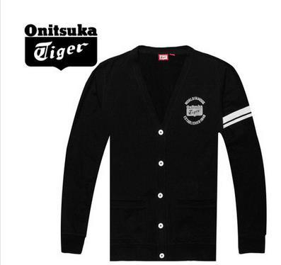 【2012年秋季】Onitsuka Tiger/鬼冢虎男士纯棉黑色开衫卫衣 OKS172-0090