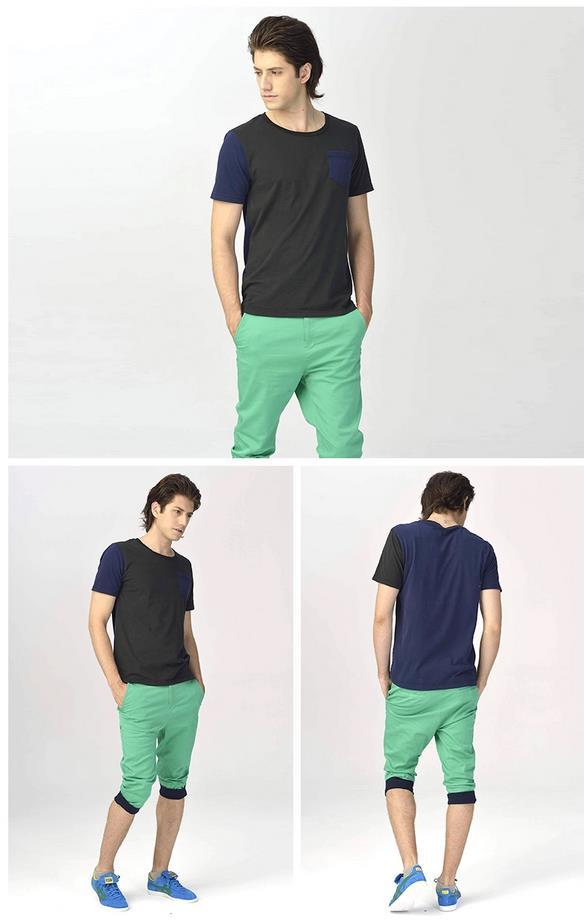 【 2014年春季】Onitsuka Tiger短袖拼色男女款运动休闲口袋T恤衫 OKT462 多色