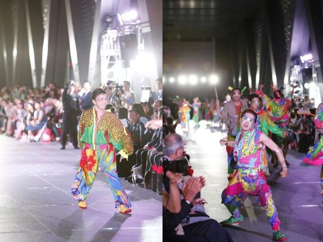 """东京都现代美术馆举办时装表演""""日本活力设计2015 '超级能量! 'Produced by KANSAI YAMAMOTO""""。"""